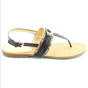 Coach Sammy Sandals Size 10 Monogram Brown Shoes